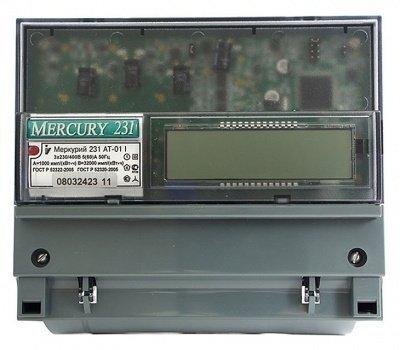 Счетчик Меркурий 231 AT-01 3ф мн.т. 5-60А 380В кл,т.1,0 3*230/400 инфракрасный ЖКИ на динрейку UTC+5